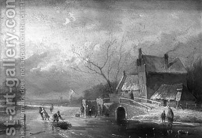 Peasants skating and conversing by a koek en zoopie on a frozen river by Jan Evert Morel - Reproduction Oil Painting
