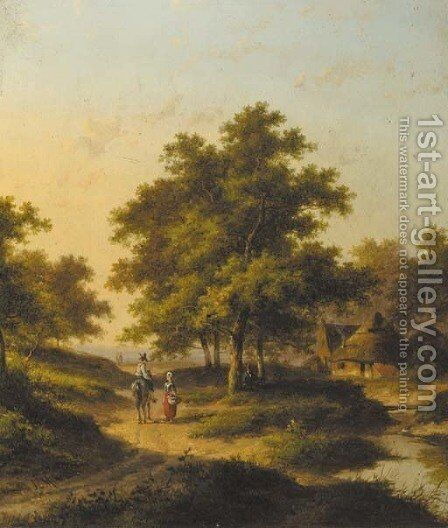 Travellers conversing in a wooded landscape by Jan Evert Morel - Reproduction Oil Painting
