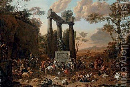 An Italianate landscape with a market by ruins by Jan Frans Soolmaker - Reproduction Oil Painting