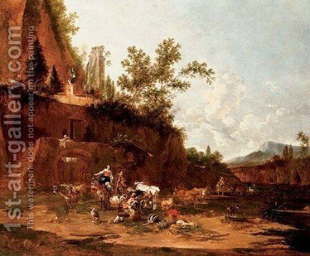 Herders resting in an italianate landscape by Jan Frans Soolmaker - Reproduction Oil Painting