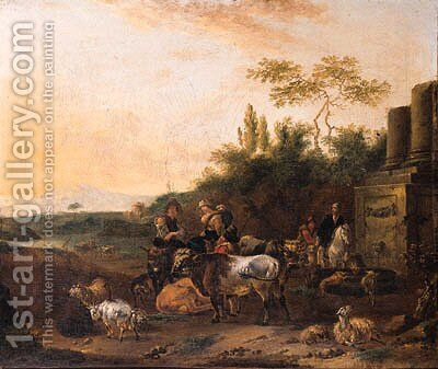 Cowherds and shepherds with cattle by classical ruins in an Italianate landscape by Jan Frans Soolmaker - Reproduction Oil Painting