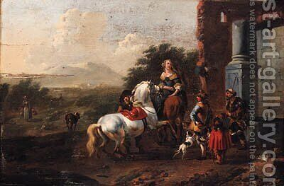 Travellers by a roadside Fountain by Jan Frans Soolmaker - Reproduction Oil Painting