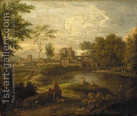 An Italianate landscape with figures by a lake and a town beyond by Jan Frans van Orizzonte (see Bloemen) - Reproduction Oil Painting