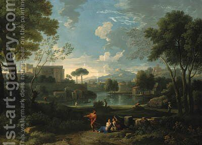 An Italianate landscape with a lakeside by Jan Frans van Orizzonte (see Bloemen) - Reproduction Oil Painting