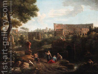 A capriccio of Rome with the Colosseum and the Arch of Constantine 2 by Jan Frans van Orizzonte (see Bloemen) - Reproduction Oil Painting