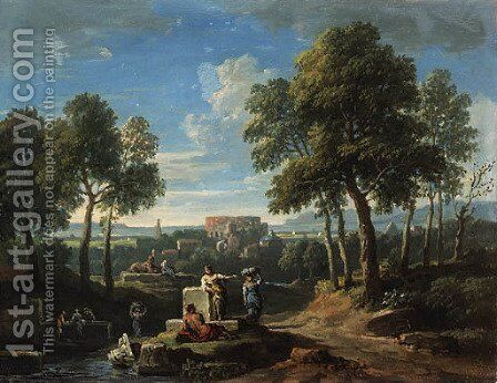 A classical landscape with figures by ruins by Jan Frans van Orizzonte (see Bloemen) - Reproduction Oil Painting