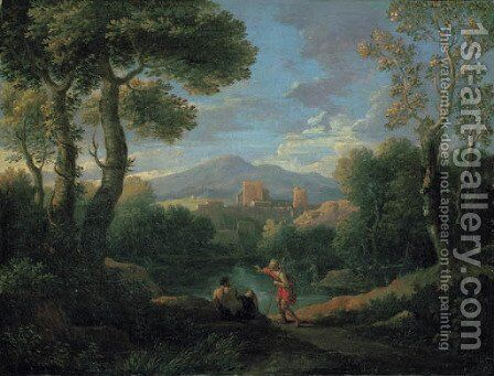 A classical landscape with two shepherds by a lake, a village beyond by Jan Frans van Orizzonte (see Bloemen) - Reproduction Oil Painting