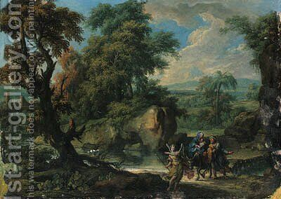 A wooded river landscape with the Flight into Egypt by Jan Frans van Orizzonte (see Bloemen) - Reproduction Oil Painting