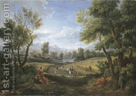 An extensive river landscape with peasants during the harvest, a lakeside town beyond 2 by Jan Frans van Orizzonte (see Bloemen) - Reproduction Oil Painting
