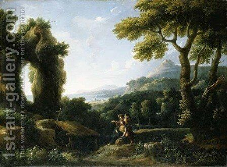 An Italianate coastal landscape with the Death of Saint Mary of Egypt by Jan Frans van Orizzonte (see Bloemen) - Reproduction Oil Painting