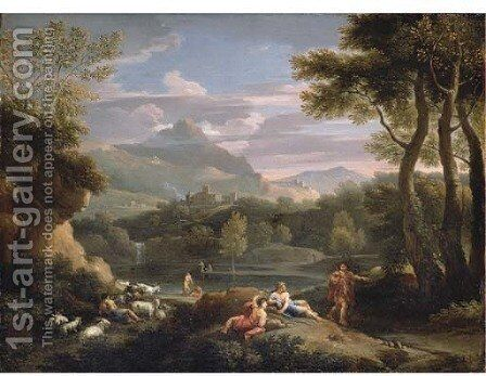 An Italianate mountainous landscape with herdsmen resting by a path and a man and a woman by a river by Jan Frans van Orizzonte (see Bloemen) - Reproduction Oil Painting