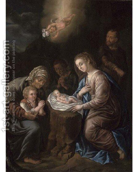 The Nativity by Jan Frans Douven - Reproduction Oil Painting