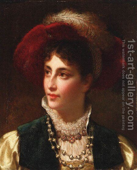 A lady of distinction by Jan Frederik Pieter Portielje - Reproduction Oil Painting
