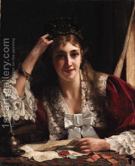 The love letter by Jan Frederik Pieter Portielje - Reproduction Oil Painting