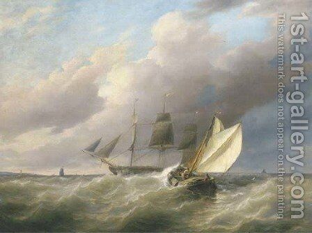 On a choppy sea by Joannes Frederick Schutz - Reproduction Oil Painting