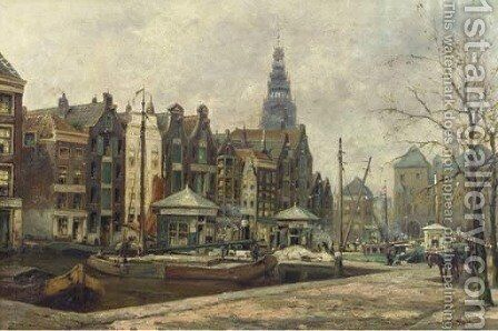Damrak entree Amsterdam a view of the Damrak, Amsterdam by Johan Gerard Smits - Reproduction Oil Painting