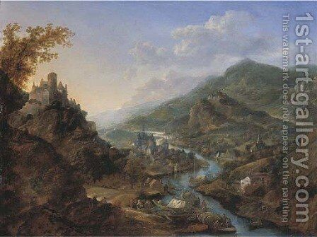 A Rhenish landscape with travellers and figures on moored boats near a castle on a hill, a town beyond by Jan Griffier - Reproduction Oil Painting