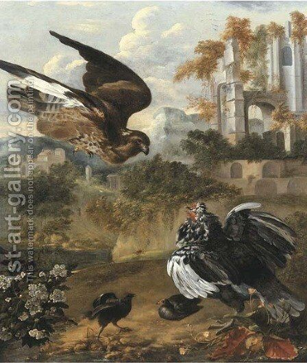 A hen protecting her chickens from a hawk, by a ruin by Jan Griffier - Reproduction Oil Painting