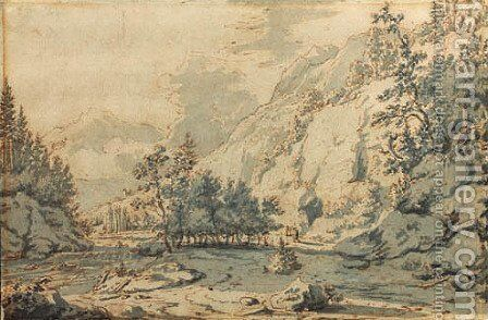 A mountainous wooded river landscape with travellers on a road by Jan Hackaert - Reproduction Oil Painting