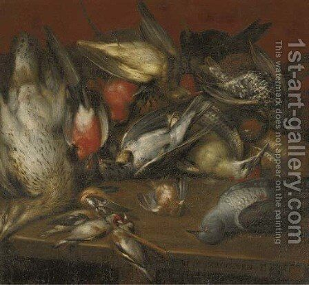 A hunting still life with a sparrow by Jan Hans Verhoeven - Reproduction Oil Painting