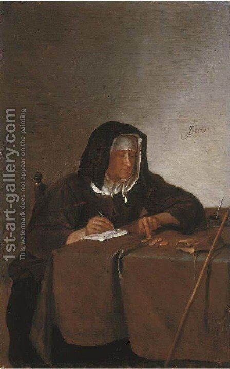 A woman counting coins at a table by Jan Steen - Reproduction Oil Painting