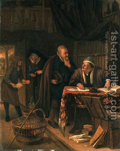 The Rent Day an interior with a lawyer at a table conversing with a client, a clerk offering a sealed document to a lady beyond by Jan Steen - Reproduction Oil Painting