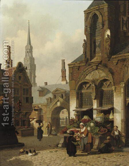 A market stall in a sunlit street by Jan Hendrik Verheyen - Reproduction Oil Painting