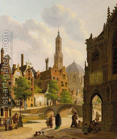 Figures by a church in a town, a canal beyond by Jan Hendrik Verheyen - Reproduction Oil Painting
