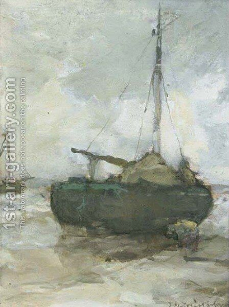 Bomschuit at low tide on the beach by Jan Hendrik Weissenbruch - Reproduction Oil Painting