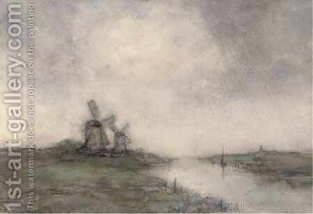 Polder landscape with windmills by Jan Hendrik Weissenbruch - Reproduction Oil Painting