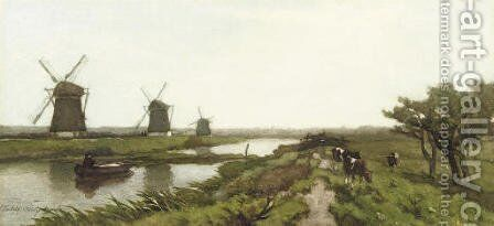 Windmills in a polder landscape by Jan Hendrik Weissenbruch - Reproduction Oil Painting
