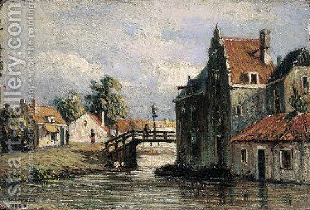 A view of a canal by Jan Heppener - Reproduction Oil Painting