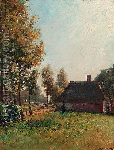 A farmyard in summer by Jan Hillebrand Wijsmuller - Reproduction Oil Painting