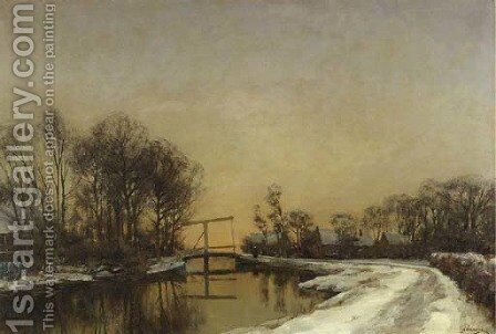 A late afternoon in winter by Jan Hillebrand Wijsmuller - Reproduction Oil Painting
