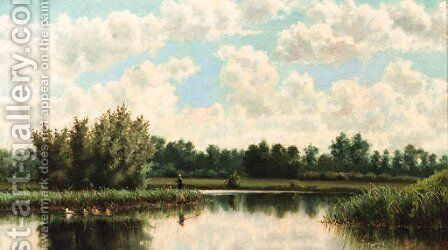 A river landscape by Jan Hillebrand Wijsmuller - Reproduction Oil Painting