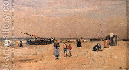 A summers' day at the beach by Jan Hillebrand Wijsmuller - Reproduction Oil Painting