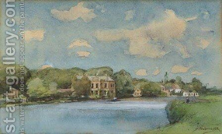 A view of the Vecht by Jan Hillebrand Wijsmuller - Reproduction Oil Painting