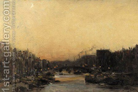 A view on a town canal by night by Jan Hillebrand Wijsmuller - Reproduction Oil Painting