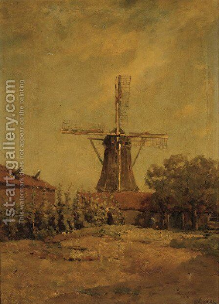 A windmill by Jan Hillebrand Wijsmuller - Reproduction Oil Painting