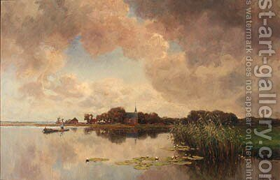 An angler in a polder landscape by Jan Hillebrand Wijsmuller - Reproduction Oil Painting