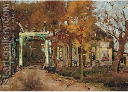 De groene wipbrug a green drawbrigde in autumn by Jan Hillebrand Wijsmuller - Reproduction Oil Painting