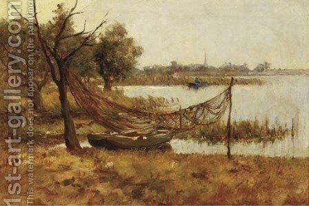 Fishing nets drying in a polder landscape by Jan Hillebrand Wijsmuller - Reproduction Oil Painting