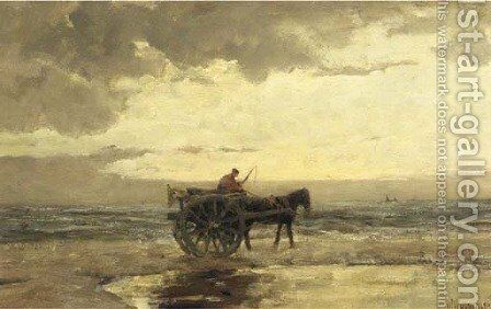 Gathering shells at dusk by Jan Hillebrand Wijsmuller - Reproduction Oil Painting