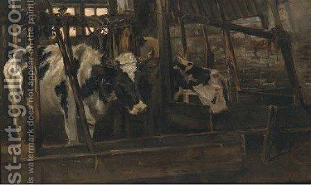 Koestal cows in a stable by Jan Hillebrand Wijsmuller - Reproduction Oil Painting