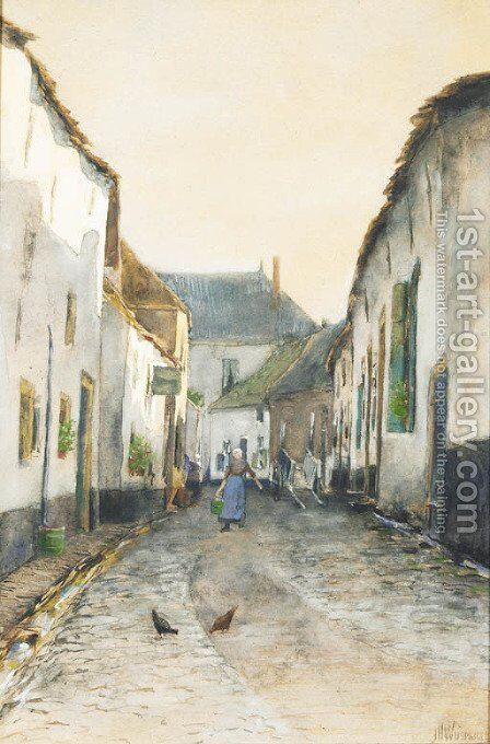 Street in a fishing village by Jan Hillebrand Wijsmuller - Reproduction Oil Painting