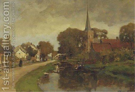 The church at Kortenhoef by Jan Hillebrand Wijsmuller - Reproduction Oil Painting