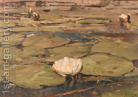 Waterlilies by Jan Hillebrand Wijsmuller - Reproduction Oil Painting