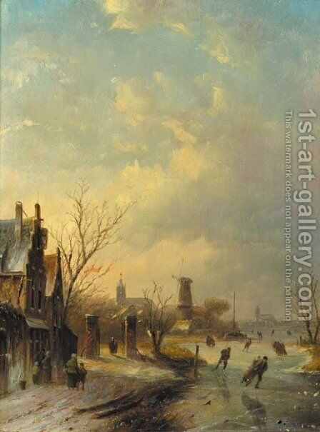 A winter landscape with skaters by Jan Jacob Coenraad Spohler - Reproduction Oil Painting