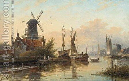Barges in a calm on a Dutch river estuary by Jan Jacob Coenraad Spohler - Reproduction Oil Painting