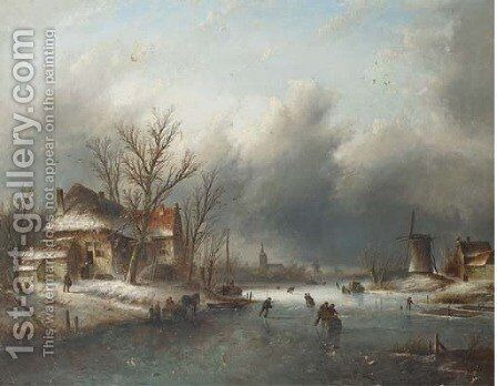 Skaters on a frozen river, a town in the distance by Jan Jacob Coenraad Spohler - Reproduction Oil Painting